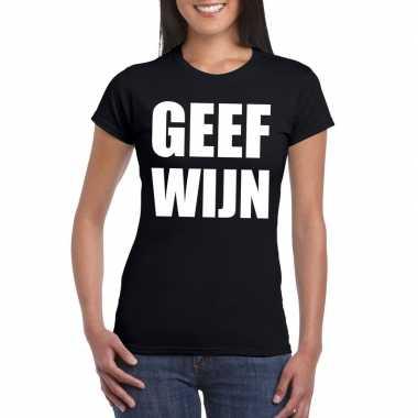 Geef wijn fun t shirt dames zwart