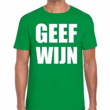 Geef wijn fun t shirt groen heren