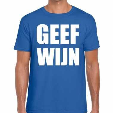Geef wijn fun t shirt heren blauw