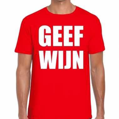 Geef wijn fun t shirt heren rood