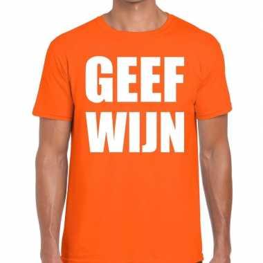 Geef wijn fun t shirt oranje heren