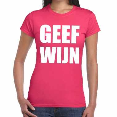 Geef wijn fun t shirt roze dames