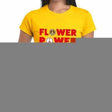 Geel flower power fun t shirt dames