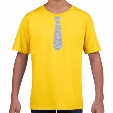 Geel t shirt zilveren stropdas kinderen