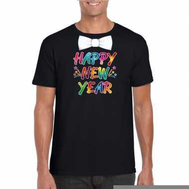 Gekleurde happy new year strikje t shirt zwart heren