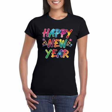 Gekleurde happy new year t shirt zwart dames