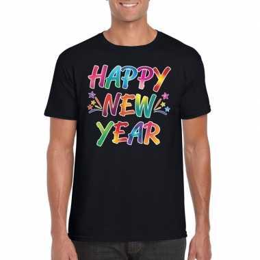 Gekleurde happy new year t shirt zwart heren