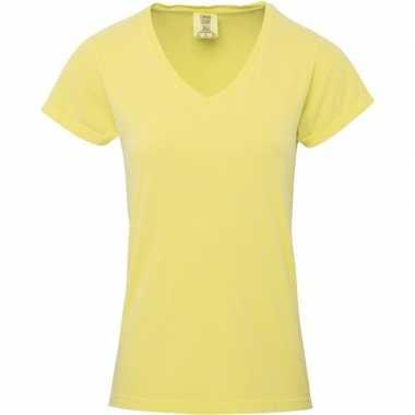 Gele dames t shirts v hals