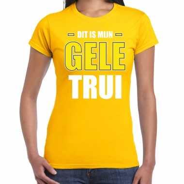 Gele trui t-shirt geel dames wieler tour wielerwedstrijd trui shirt geel