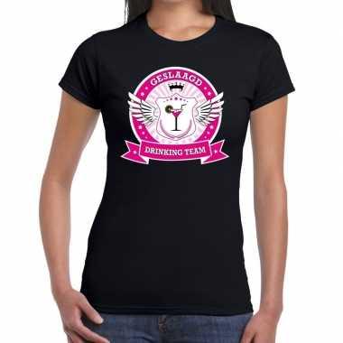 Geslaagd drinking team t shirt zwart dames
