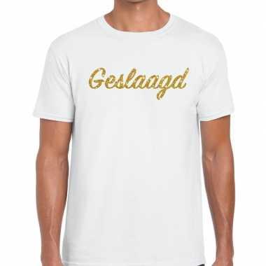 Geslaagd gouden letters fun t shirt wit heren
