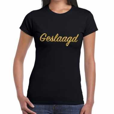 Geslaagd gouden letters fun t shirt zwart dames