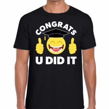 Geslaagd shirt congrats u did it zwart heren