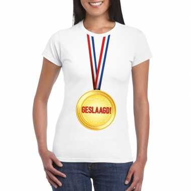 Geslaagd t shirt wit medaille dames
