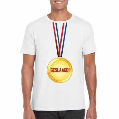 Geslaagd t shirt wit medaille heren
