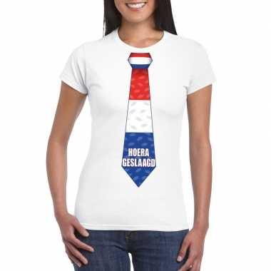 Geslaagd t shirt wit stropdas dames