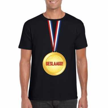 Geslaagd t shirt zwart medaille heren