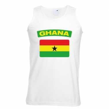 Ghana vlag mouwloos shirt wit heren