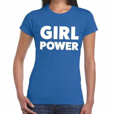 Girl power fun t shirt blauw dames