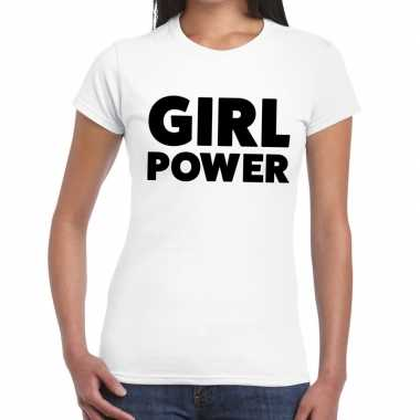 Girl power fun t shirt dames wit
