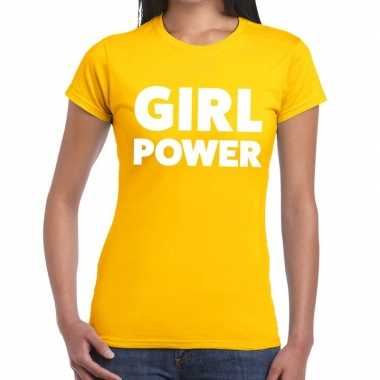 Girl power fun t shirt geel dames