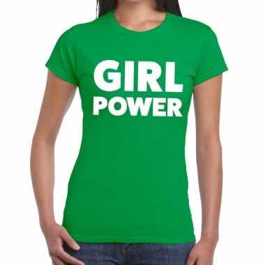 Girl power fun t shirt groen dames