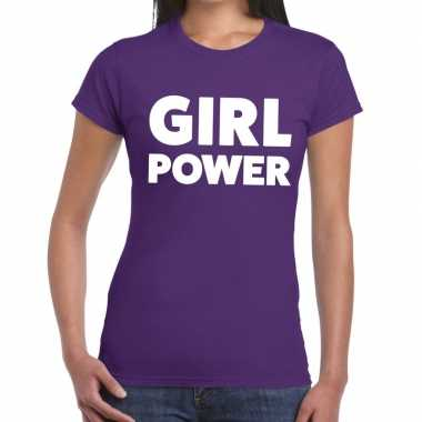 Girl power fun t shirt paars dames