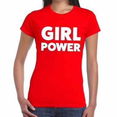 Girl power fun t shirt rood dames