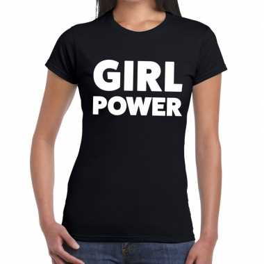 Girl power fun t shirt zwart dames