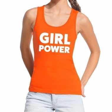 Girl power tanktop / mouwloos shirt oranje dames