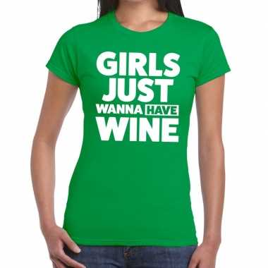 Girls just wanna have wine fun t shirt groen dames