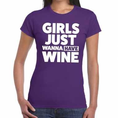 Girls just wanna have wine fun t shirt paars dames