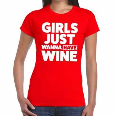 Girls just wanna have wine fun t shirt rood dames