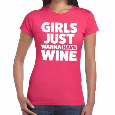 Girls just wanna have wine fun t shirt roze dames