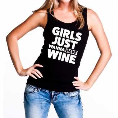 Girls just wanna have wine fun tanktop / mouwloos shirt zwart dames