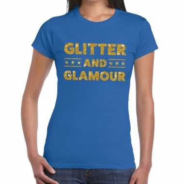 Glitter and glamour fun t shirt blauw dames