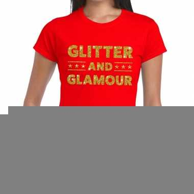 Glitter and glamour fun t shirt rood dames