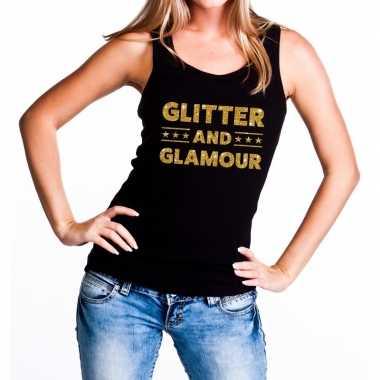 Glitter and glamour fun tanktop / mouwloos shirt zwart dames
