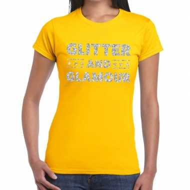 Glitter and glamour zilver fun t shirt geel dames