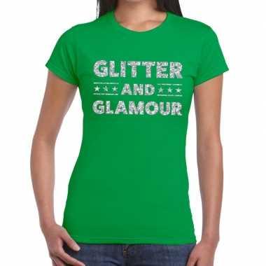 Glitter and glamour zilver fun t shirt groen dames