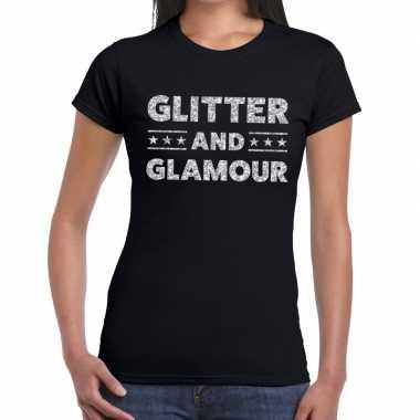 Glitter and glamour zilver fun t shirt zwart dames