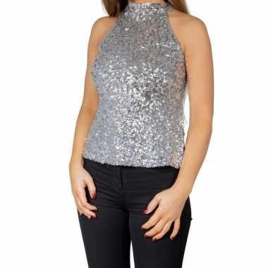 Glitter pailletten stretch halter shirt/ topje zilver dames