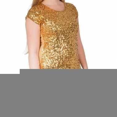 Glitter pailletten stretch shirt goud dames l/ xl