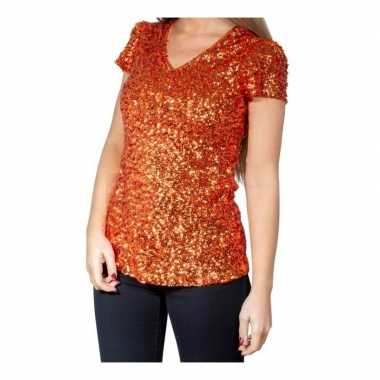 Glitter pailletten stretch shirt oranje dames