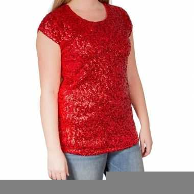 Glitter pailletten stretch shirt rood dames l/ xl