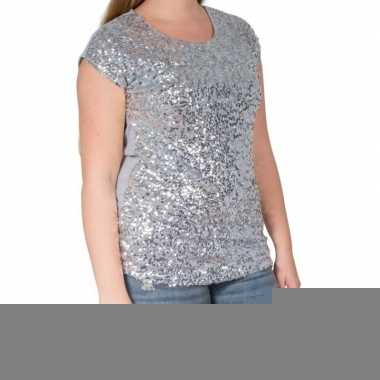 Glitter pailletten stretch shirt zilver dames l/ xl