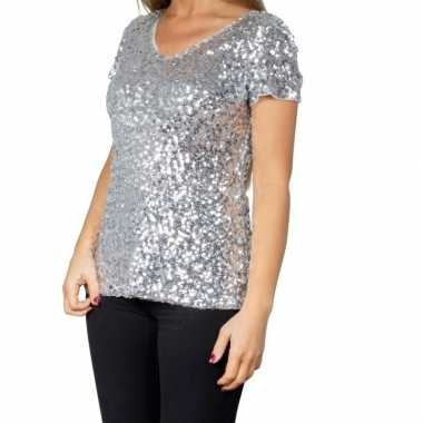 Glitter pailletten stretch shirt zilver dames