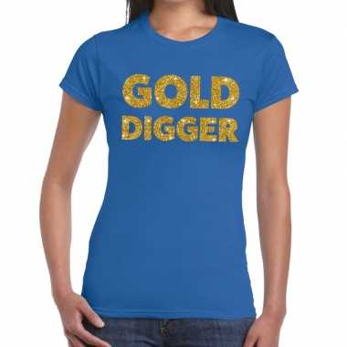 Gold digger fun t shirt blauw dames