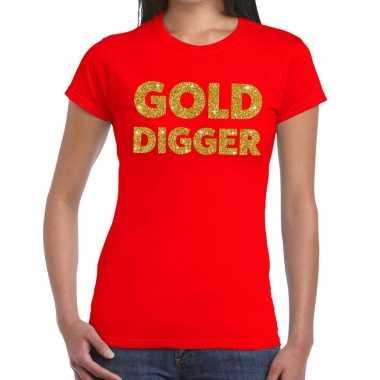 Gold digger fun t shirt rood dames