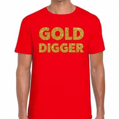 Gold digger fun t shirt rood heren
